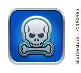 illustration of blue skull icon
