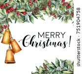 watercolor christmas floral...   Shutterstock . vector #751904758