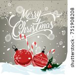 christmas decoration toys with... | Shutterstock .eps vector #751908208
