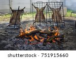 lamb on the spit   Shutterstock . vector #751915660
