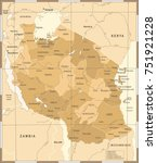 tanzania map   vintage detailed ... | Shutterstock .eps vector #751921228