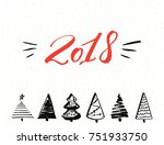 2018 red text. happy new year... | Shutterstock .eps vector #751933750