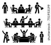 stick figure business meeting... | Shutterstock .eps vector #751953199