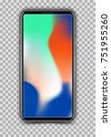 realistic white slim smartphone ... | Shutterstock .eps vector #751955260