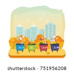 containers for garbage of... | Shutterstock .eps vector #751956208