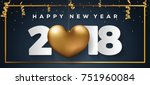 happy new year 2018 card | Shutterstock .eps vector #751960084