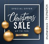 christmas sale banner. special... | Shutterstock .eps vector #751960924