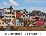 view of old zurich from above ... | Shutterstock . vector #751968544