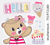 cute teddy bear cartoon holding ... | Shutterstock .eps vector #751972180