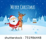 santa claus with his friend... | Shutterstock .eps vector #751986448