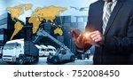 businessman is pressing button... | Shutterstock . vector #752008450