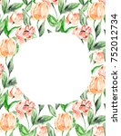cute watercolor flower frame....   Shutterstock . vector #752012734