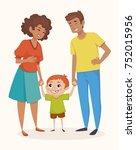 happy family. little redhead... | Shutterstock .eps vector #752015956