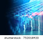 double exposure image of laptop ... | Shutterstock . vector #752018920