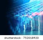 double exposure image of laptop ... | Shutterstock . vector #752018920