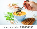 pea soup with pieces of bacon...   Shutterstock . vector #752030650
