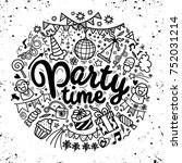 hand drawn  doodle party set.... | Shutterstock .eps vector #752031214