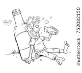drunk man beside champagne... | Shutterstock .eps vector #752032150