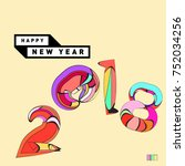 happy new year 2018 greeting... | Shutterstock .eps vector #752034256