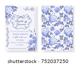 vintage floral background... | Shutterstock .eps vector #752037250