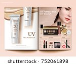 cosmetic magazine template ... | Shutterstock .eps vector #752061898