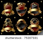 Vector image of six gold vintage labels with design elements on black background - stock vector