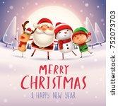 merry christmas  happy...   Shutterstock .eps vector #752073703