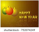 happy new year 2018 vector... | Shutterstock .eps vector #752074249