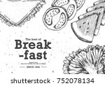 breakfast with top view use by... | Shutterstock .eps vector #752078134