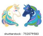 cute unicorns. vector... | Shutterstock .eps vector #752079583