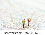 miniature 2 people stand on a...   Shutterstock . vector #752081623
