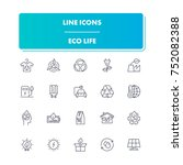 68. line icons set. eco life... | Shutterstock .eps vector #752082388