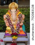 Small photo of Faith is all you need to worship God. Ganesha Sculpture during Ganesh festival