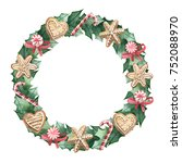 christmas wreath with flowers ... | Shutterstock . vector #752088970