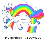 funny unicorn and rainbow | Shutterstock .eps vector #752094190