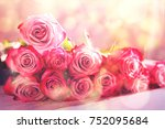 beautiful  pink roses flowers... | Shutterstock . vector #752095684
