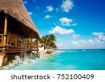playa del carmen beach palapa... | Shutterstock . vector #752100409