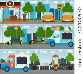 vector set of city street... | Shutterstock .eps vector #752100970