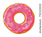 sweet donut. donut with pink... | Shutterstock .eps vector #752123323