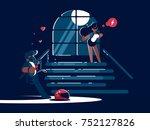 loving boyfriend and girl in...   Shutterstock .eps vector #752127826