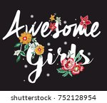 Flowers Embroidery And Slogan
