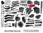 set of black paint  ink brush ... | Shutterstock .eps vector #752132350