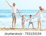 Happy Family On Sea Beach At...