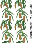 seamless pattern with a branch... | Shutterstock .eps vector #752135230