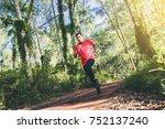 man in red t shirt runner... | Shutterstock . vector #752137240