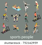 isometric interior of gym.... | Shutterstock . vector #752162959