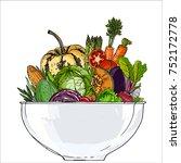 vegetables in a bowl. fresh... | Shutterstock .eps vector #752172778