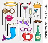 photo booth props. birthday and ... | Shutterstock .eps vector #752173033