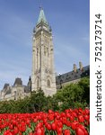 Small photo of Ottawa Parliament with red tulip. Canadian tulip festival is a tulip festival, held annually in May in Ottawa, Ontario, Canada. The world's largest tulip festival.