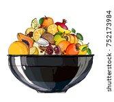 fruit in a bowl. fresh food.... | Shutterstock .eps vector #752173984